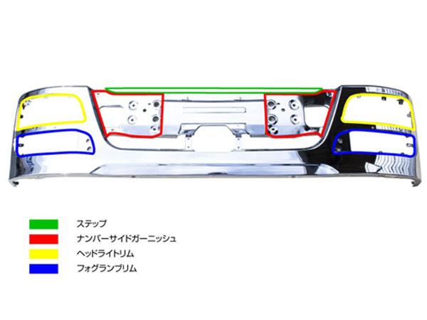 JETイノウエ ヘッドライトリム NEWスーパーグレートバンパー用 R/Lセット 510621