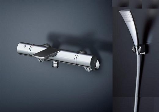 TOTO壁付サーモスタット混合水栓【TBV01S05J】エアインメッキ偏芯脚メタル調樹脂ホース1800ミリ角度調整式シャワーハンガー2個付属構成品番:TBV01404J+TBW02009J