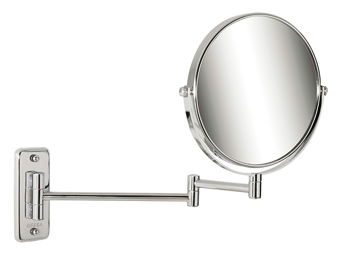 セラトレーディングGEESAコスメティックミラー(拡大鏡1,3倍)クロム仕上げ拡大鏡、反対は通常の鏡鏡は前後左右可動式GE1086