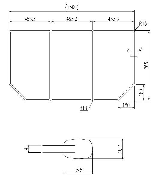 LIXIL風呂フタYFK-1477C(1)枚数:3枚寸法:765×453カラー:ホワイト