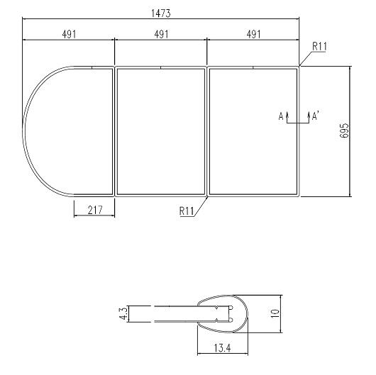 LIXIL風呂フタYFK-1573C(2)枚数:3枚寸法:695×491カラー:ホワイト