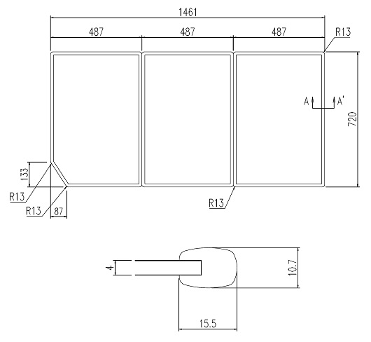 LIXIL風呂フタYFK-1575C(5)枚数:3枚寸法:720×487カラー:ホワイト