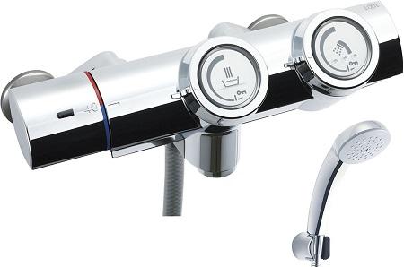 LIXILBF-HW156TSC洗い場専用プッシュ式サーモスタット付シャワーバス水栓エコフルスプレーシャワー(メッキ仕様)
