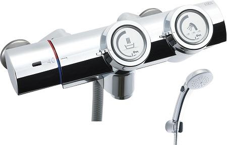 LIXILBF-HW156TSCW洗い場専用プッシュ式サーモスタット付シャワーバス水栓エコフルスイッチシャワー(メッキ仕様)