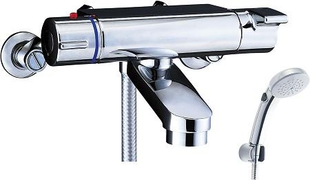 LIXILBF-2147TKSCWサーモスタット付シャワーバス水栓エコフルスイッチシャワー(メッキ仕様)吐水口長さ75ミリ吐水口位置壁面より174ミリ