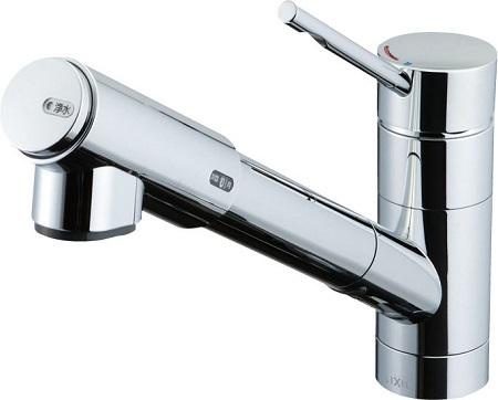 LIXILJF-1456SYX浄水器内蔵シングルレバー混合水栓(ニッケルクロムメッキ)呼径13ミリ水栓取付穴φ37ホース引出長さ 約40センチ