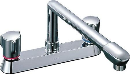 LIXILSF-71302ハンドル混合水栓水栓取付穴φ24(2ヶ)吐水口長さ260ミリ湯水芯々203ミリ