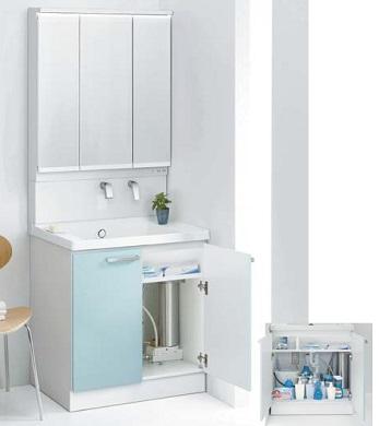 TOTO魔法びん即湯器付き洗面化粧台間口750ミリ価格及び画像はLDSWB075BAGEN1B(サクア/エアインスィング)LMWB075A3GLC2G(サクア/3面鏡)REQ02ASL5(即湯器)メーカー直送のため代引決済はできません