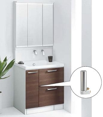 TOTO魔法びん即湯器付き洗面化粧台間口750ミリ価格及び画像はLDSWB075BDJEN1M(サクア/エアインスィング)LMWB075A3GLC2G(サクア/3面鏡)REQ02ASL5(即湯器)メーカー直送のため代引決済はできません