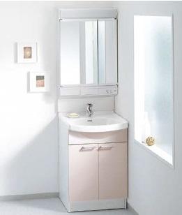 TOTOAシリーズ間口600ミリ価格及び画像はLDA606BEP(洗面化粧台)LMA601KCR(化粧鏡二面鏡エコミラー)水栓金具:エコシングル混合水栓化粧台カラー:ペールピンクメーカー直送のため代引決済はできません