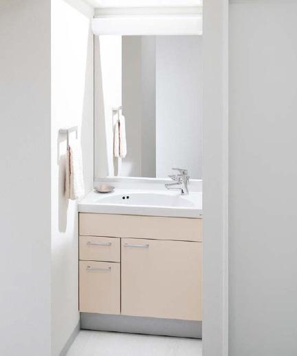 TOTOスリムシリーズ間口7500ミリ価格及び画像はLDSJ75LBMRP(洗面化粧台)LMJ750HR(一面鏡)水栓金具:シングル混合水栓化粧台カラー:イノセンスピンクカウンターカラー:ホワイトメーカー直送のため代引決済はできません