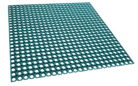ユニソンターフラバーマットカラー:グリーン販売単位:1結束(3枚/3平米)使用枚数:1/平米サイズ:1,000L×1,000W×15H重量:21キロ(1結束)