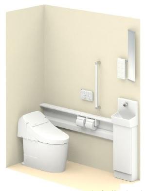 TOTOUWD5SA3RWGG2ワンデーリモデルキャビネット・カウンター便器・手洗器UGYHB603NW1木製手すりUGM150HRタオル掛け付化粧鏡カラー:ホワイトメーカー直送材のみ