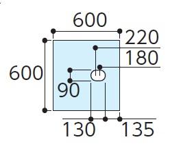 TOTOAGF311ハイドロセラフロアJ床排水小便器(排水心180-220ミリ)寸法:600×600×12付属品:・専用接着剤×1・便器取付部材(専用ドリル刃)×1下のボックスでカラーをお選びください