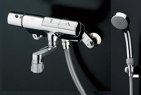 TOTOTTMN40STE3壁付サーモスタット混合水栓タッチスイッチタイプシャワーヘッド:エアインめっきホース:樹脂