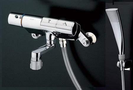 TOTOTTMN40STEC壁付サーモスタット混合水栓タッチスイッチタイプシャワーヘッド:エアインめっきホース:樹脂