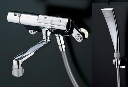 TOTOTTMN40TEC壁付サーモスタット混合水栓タッチスイッチタイプシャワーヘッド:エアインめっきホース:樹脂