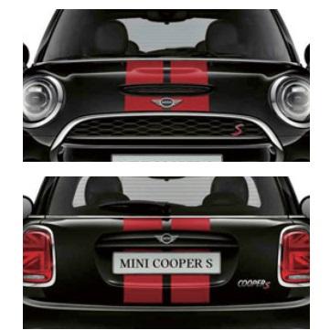MINI純正 スポーツ・ストライプ・エンジンフード/トランク・セット(F55)(チリ・レッド)