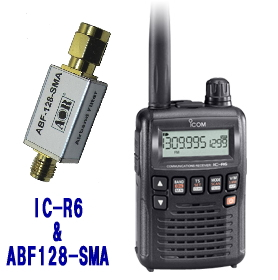 IC-R6 + ABF128-SMA アイコム 広帯域受信機  +エアバンドフィルタ (ICR6 + ABF128SMA)  レシーバー