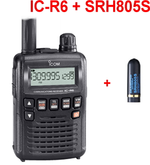 広帯域受信機 ミニアンテナセット IC-R6 + SRH805S SRH805S アイコム ハンディレシーバー (ICR6 + + 広帯域受信機 SRH805S) 受信機, JSファッション:1cee7d91 --- io-es.com