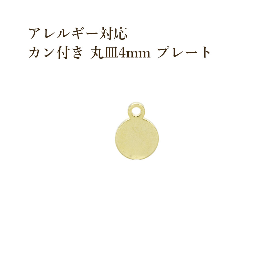 平皿 金アレ 医療用 日本全国 送料無料 素材 316L 金具 資材 さびにくい 半額 10個 サージカル ステンレス パーツ 金 ゴールド チャーム 丸皿 プレート 4mm ラウンド メタル アレルギー対応 カン付き