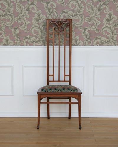 ハイバックチェア(アールヌーボー) イタリア製 高級 椅子 飾り椅子 ヨーロピアン 手造り ハンドメイド 布張り エレガント 上品 ヨーロッパ家具 メディア社