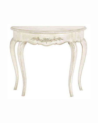 ハーフムーンコンソールテーブル(アンティーク調ホワイト) フランス シャビー 玄関 カントリーコーナー 白家具 飾り台 オリーブ おしゃれ 輸入家具 デザイン ブランド
