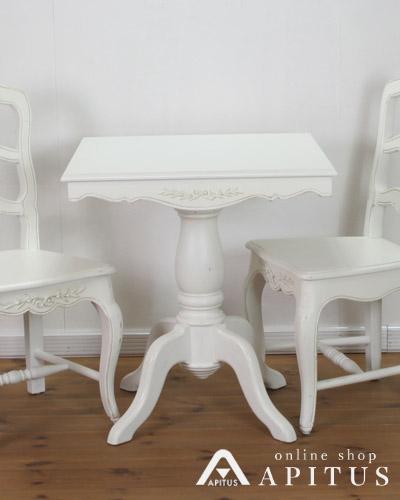 ダイニングテーブル(アンティークホワイト/正方形) 白家具 ティーテーブル シャビー シック カントリーコーナー インテリア お洒落 フレンチ デザイン
