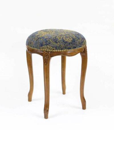 イタリア製ラウンド猫脚スツール(ブルー) ヨーロピアン 布張り 彫刻 イタリア家具 補助椅子 玄関 ドレッサー椅子 お洒落 インテリア 豪華 便利