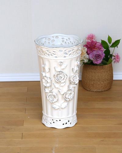 エレガントなホワイトローズモチーフの傘立て(陶器) 薔薇 玄関 エレガント 豪華 輸入 スリム おしゃれ 飾り デザイン インテリア ゴージャス