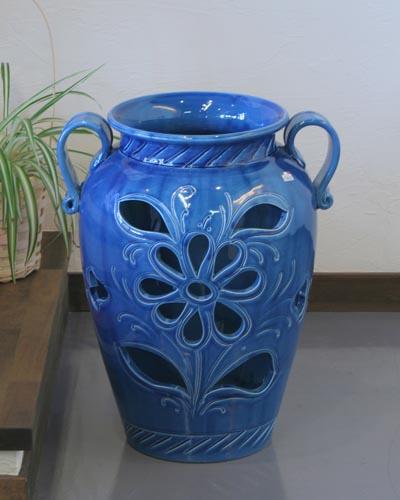 イタリア製傘立て(ブルー) 陶器 玄関 収納 アンブレラスタンド お洒落 つぼ型 ヨーロピアン 輸入 インテリア デザイン