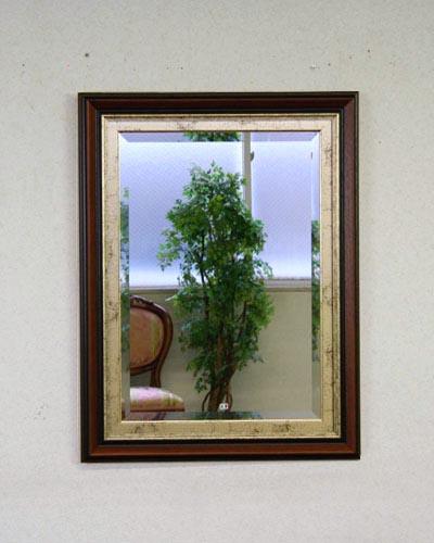 木の質感が味わい深いイタリア製壁掛けミラー(ブラウン/ゴールド) ウォール 鏡 ヨーロッパ 木製 カントリー 輸入 お洒落 インテリア デザイン 大きい 長方形