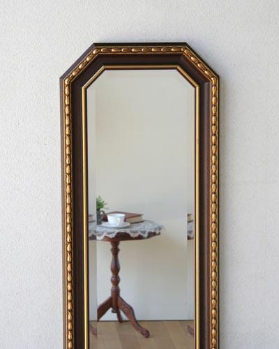壁掛け用姿見(ウォールミラー) 鏡 木製額 縦長 イタリア製 お洒落 ヨーロピアン インテリア 玄関 リビング デザイン チューリップ ブラウン