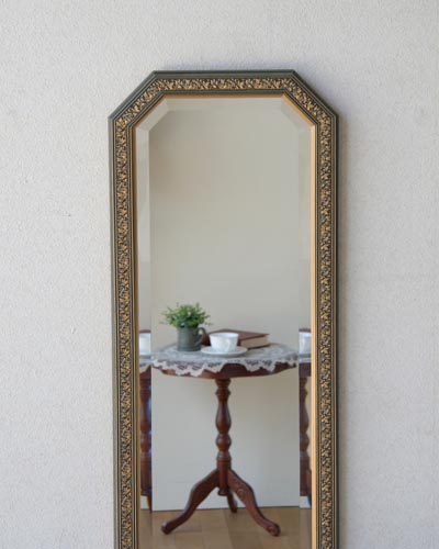 壁掛け用姿見(ウォールミラー) 鏡 玄関 ウォール ヨーロピアン クラシカル 豪華 ブルー ゴールド イタリア製 木製額 お洒落 輸入