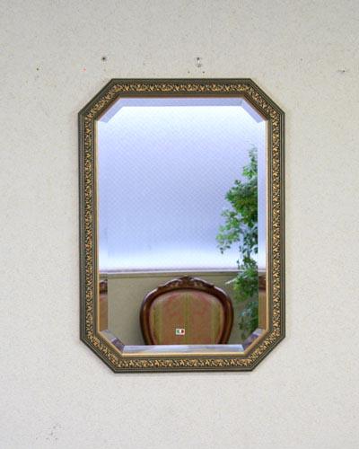 ブルーゴールドがアクセントのイタリア製壁掛け八角ミラー 壁掛け 鏡 ウォール ヨーロピアン お洒落 装飾 エレガント インテリア 木製額 デコラティブ 輸入