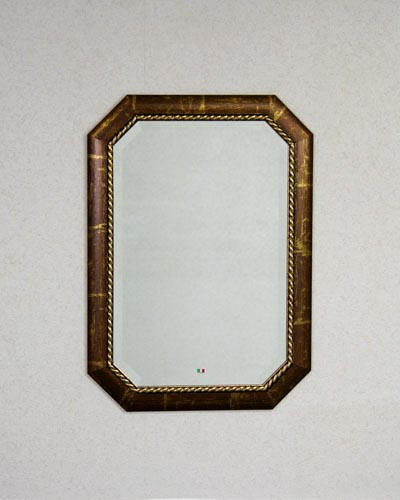 ブラウン&ゴールド色が素敵なイタリア製の壁掛け八角ミラー ウォール ヨーロピアン インテリア 鏡 お洒落 玄関 リビング エレガント 輸入 クラシカル