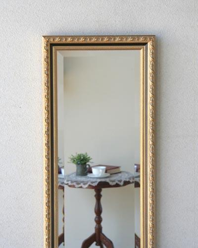 壁掛け用姿見(イタリア/ゴールド) 縦長 長方形 ウォール 玄関 鏡 おしゃれ 輸入 ヨーロッパ デコラティブ 豪華 インテリア デザイン クラシック