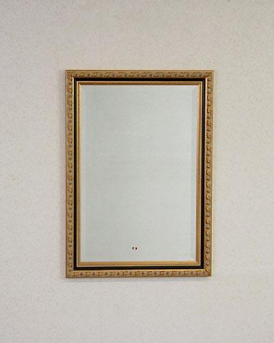 クラシック家具に似合うイタリア製の壁掛けミラー(ゴールド) ウォール 鏡 ヨーロピアン お洒落 インテリア 豪華 玄関 リビング 輸入 店舗 お店 四角