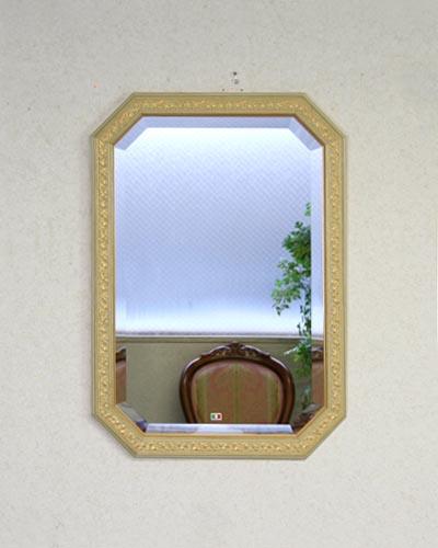 八角ミラー イタリア製(ベージュ/ゴールド) 壁掛け 鏡 ウォール お洒落 ヨーロピアン 輸入 インテリア リビング 玄関 豪華 高級 木製額 エレガント