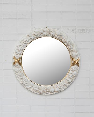 イタリア製アンティーク調ミラー(フルーツ) 壁掛 丸型 ラウンド ヨーロピアン お洒落 デコラティブ インテリア 鏡 リビング ホワイト 輸入 クラシカル