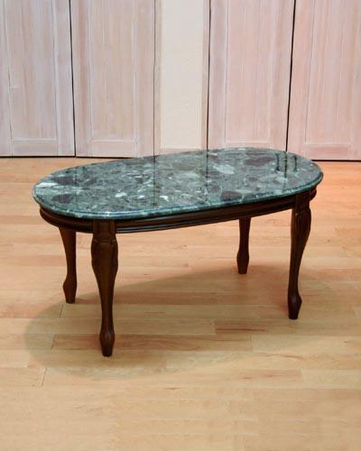 イタリア製、大理石センターテーブル(グリーン)