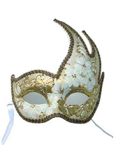 本場ヨーロッパのマスケラ(仮面/ホワイトゴールド) お洒落 パーティー 輸入 ヨーロッパ ヴェネチアンカーニバル コスプレ 本場 ハロウィン 豪華 手軽
