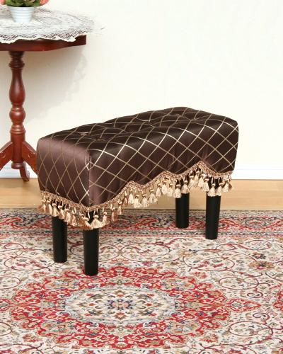 タッセルが可愛いスリムな布張りスツール(ブラウン/ゴールド) 玄関 便利 椅子 お洒落 ジェニファーテイラー ベンチ リビング インテリア デザイン エレガント