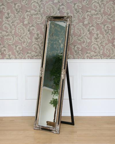 スタンド式、デコラティブな額が豪華な姿見 クラシック ウォール 鏡 お洒落 ロココ 海外 インテリア 玄関 リビング ヨーロピアン アンティーク調