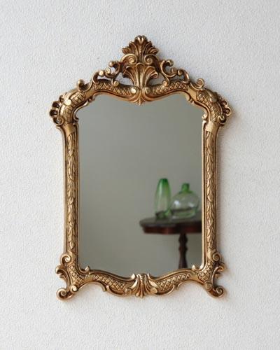 デコラティブな装飾のイタリア製ミラー(ゴールド) 壁掛け 鏡 ウォール お洒落 輸入 ヨーロピアン アンティーク調 インテリア デザイン 海外