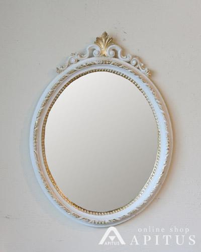 イタリア製の壁掛けオーバルミラー(アンティーク風ホワイト) 楕円形 ウォール 鏡 ロココ クラシック 輸入 おしゃれ デザイン 装飾 インテリア デコラティブ