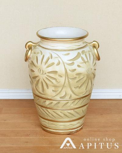 イタリア製傘立て(アイボリー) 陶器 フローレンス フィレンツェ 花模様 アンティーク風 玄関 お洒落 インテリア ヨーロッパ クラシック