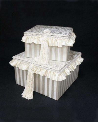 女性らしい可愛いフリルをあしらった2個セットのボックス(グレー・Haruno-gr) ジェニファーテイラー インテリア 収納 布張り 小物入れ お洒落 エレガント