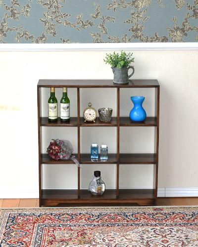 オーク材のシンプルなオープンシェルフ(アンティーク調) 棚 コレクションケース 木製 英国スタイル お洒落 リビング インテリア 飾り 輸入
