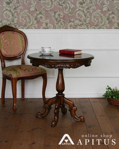 丸型コーヒーテーブル(猫脚/マホガニー材) アンティーク調 木製 ラウンド ティーテーブル リビング お洒落 重厚 英国スタイル 輸入 インテリア デザイン